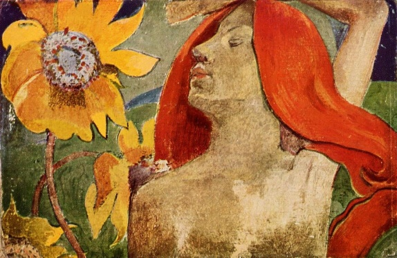 Paul_Gauguin_-_Readheaded_Woman_and_Sunflowers