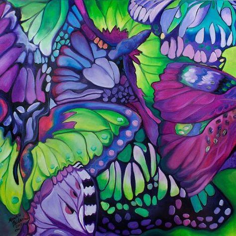 BUTTERFLY-ABSTRACT-in-PURPLE-amp-GREEN-for-FRANCESCA Marcia Baldwin