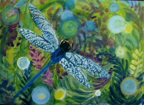 ACEO-CapeCodArtist-Original-Mini-Painting-Blue-Dragonfly-Green-Grass-font-b-Ferns-b-font-Orbs