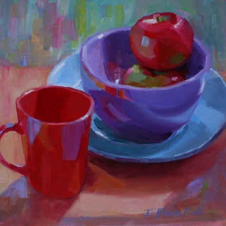 APPLES IN A PURPLE BOWL