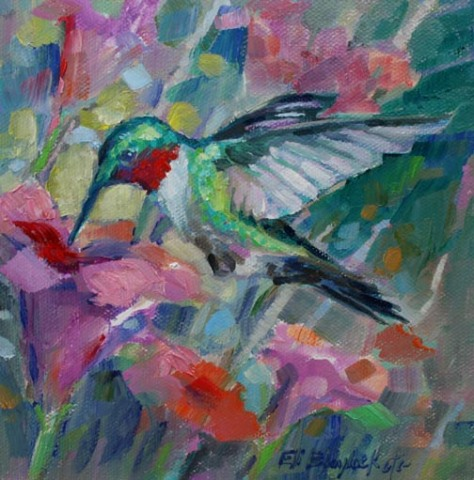 HUMMINGBIRD AMONG THE FLOWERS