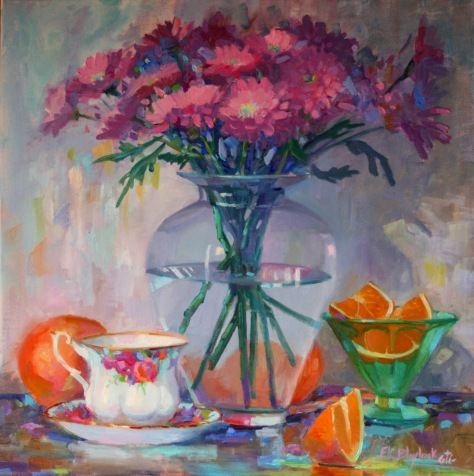 TEA CUP ORANGES PINK FLOWERS (1)